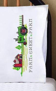 Farm Sweet Farm Pillowcases Stamped for Embroidery